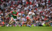11 September 2021; Darragh Canavan of Tyrone in action against Patrick Durcan of Mayo during the GAA Football All-Ireland Senior Championship Final match between Mayo and Tyrone at Croke Park in Dublin. Photo by Stephen McCarthy/Sportsfile