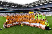 12 September 2021; Antrim players and backroom staff celebrate after their side's victory in the All-Ireland Intermediate Camogie Championship Final match between Antrim and Kilkenny at Croke Park in Dublin. Photo by Piaras Ó Mídheach/Sportsfile