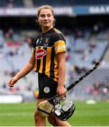 12 September 2021; A dejected Tiffanie Fitzgerald of Kilkenny leaves the pitch after her side's defeat in the All-Ireland Intermediate Camogie Championship Final match between Antrim and Kilkenny at Croke Park in Dublin. Photo by Ben McShane/Sportsfile