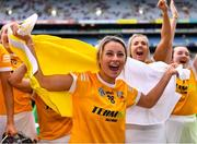 12 September 2021; Becky Ellis of Antrim celebrates after her side's victory in the All-Ireland Intermediate Camogie Championship Final match between Antrim and Kilkenny at Croke Park in Dublin. Photo by Piaras Ó Mídheach/Sportsfile