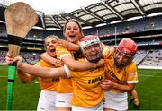 12 September 2021; Antrim players, from left, Niamh Anne Donnelly, Becky Ellis, goalkeeper Catrina Graham and Maria Lynn of Antrim celebrate after their side's victory in the the All-Ireland Intermediate Camogie Championship Final match between Antrim and Kilkenny at Croke Park in Dublin. Photo by Ben McShane/Sportsfile