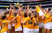 12 September 2021; Antrim players celebrate after their side's victory in the All-Ireland Intermediate Camogie Championship Final match between Antrim and Kilkenny at Croke Park in Dublin. Photo by Piaras Ó Mídheach/Sportsfile