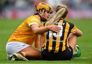 12 September 2021; Maeve Kelly of Antrim consoles Jennifer Leahy of Kilkenny after the All-Ireland Intermediate Camogie Championship Final match between Antrim and Kilkenny at Croke Park in Dublin. Photo by Piaras Ó Mídheach/Sportsfile