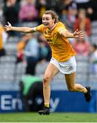 12 September 2021; Aine Magill of Antrim celebrates after her side's victory in the All-Ireland Intermediate Camogie Championship Final match between Antrim and Kilkenny at Croke Park in Dublin. Photo by Piaras Ó Mídheach/Sportsfile