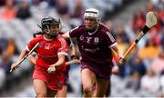 12 September 2021; Amy O'Connor of Cork in action against Shauna Healy of Galway during the All-Ireland Senior Camogie Championship Final match between Cork and Galway at Croke Park in Dublin. Photo by Ben McShane/Sportsfile