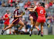 12 September 2021; Aoife Donoghue of Galway is tackled by Laura Treacy of Cork during the All-Ireland Senior Camogie Championship Final match between Cork and Galway at Croke Park in Dublin. Photo by Piaras Ó Mídheach/Sportsfile