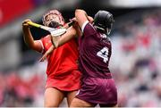 12 September 2021; Dervla Higgins of Galway collides with Fiona Keating of Cork during the All-Ireland Senior Camogie Championship Final match between Cork and Galway at Croke Park in Dublin. Photo by Ben McShane/Sportsfile