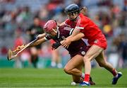 12 September 2021; Orlaith McGrath of Galway in action against Pamela Mackey of Cork during the All-Ireland Senior Camogie Championship Final match between Cork and Galway at Croke Park in Dublin. Photo by Piaras Ó Mídheach/Sportsfile