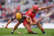 12 September 2021; Siobhán McGrath of Galway in action against Libby Coppinger of Cork during the All-Ireland Senior Camogie Championship Final match between Cork and Galway at Croke Park in Dublin. Photo by Ben McShane/Sportsfile