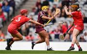 12 September 2021; Siobhán McGrath of Galway scores her side's first goal despite the efforts of Cork goalkeeper Amy Lee, right, and Libby Coppinger of Cork during the All-Ireland Senior Camogie Championship Final match between Cork and Galway at Croke Park in Dublin. Photo by Ben McShane/Sportsfile