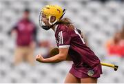 12 September 2021; Siobhán McGrath of Galway celebrates after scoring her side's first goal during the All-Ireland Senior Camogie Championship Final match between Cork and Galway at Croke Park in Dublin. Photo by Ben McShane/Sportsfile