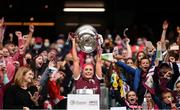 12 September 2021; Galway captain Sarah Dervan lifts the O'Duffy Cup after the All-Ireland Senior Camogie Championship Final match between Cork and Galway at Croke Park in Dublin. Photo by Ben McShane/Sportsfile