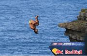 12 September 2021; Sergio Guzman of Mexico during round four of the Red Bull Cliff Diving World Series at Downpatrick Head in Mayo. Photo by Ramsey Cardy/Sportsfile