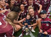12 September 2021; Shauna Healy of Galway, 2, celebrates with her goddaughter Ellen Burke after the All-Ireland Senior Camogie Championship Final match between Cork and Galway at Croke Park in Dublin. Photo by Piaras Ó Mídheach/Sportsfile