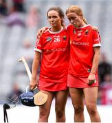 12 September 2021; Orla Cronin, left, and Laura Treacy console each other after their defeat in the All-Ireland Senior Camogie Championship Final match between Cork and Galway at Croke Park in Dublin. Photo by Ben McShane/Sportsfile