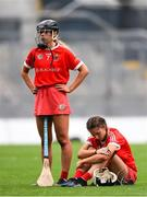 12 September 2021; Dejected Cork players Laura Hayes, left, and Saoirse McCarthy after their defeat in the All-Ireland Senior Camogie Championship Final match between Cork and Galway at Croke Park in Dublin. Photo by Ben McShane/Sportsfile