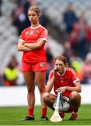 12 September 2021; Meabh Cahalane, right, and Aoife O'Neill of Cork react after their defeat in the All-Ireland Senior Camogie Championship Final match between Cork and Galway at Croke Park in Dublin. Photo by Ben McShane/Sportsfile