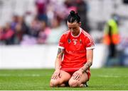 12 September 2021; Ashling Thompson of Cork reacts after her side's defeat in the All-Ireland Senior Camogie Championship Final match between Cork and Galway at Croke Park in Dublin. Photo by Ben McShane/Sportsfile