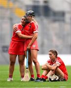 12 September 2021; Linda Collins, left, is consoled by Cork team-mate Laura Hayes, centre, after their defeat in the All-Ireland Senior Camogie Championship Final match between Cork and Galway at Croke Park in Dublin. Photo by Ben McShane/Sportsfile