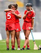 12 September 2021; Cork players, from left, Saoirse McCarthy, Linda Collins and Laura Hayes of Cork after their defeat in the All-Ireland Senior Camogie Championship Final match between Cork and Galway at Croke Park in Dublin. Photo by Ben McShane/Sportsfile