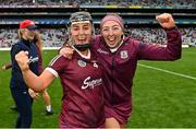 12 September 2021; Galway players Dervla Higgins, left, and Lisa Casserly celebrate after their side's victory in the All-Ireland Senior Camogie Championship Final match between Cork and Galway at Croke Park in Dublin. Photo by Piaras Ó Mídheach/Sportsfile