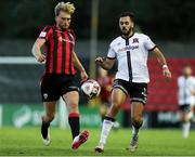 11 September 2021; Aaron O'Driscoll of Longford Town in action against Sami Ben Amar of Dundalk during the SSE Airtricity League Premier Division match between Longford Town and Dundalk at Bishopsgate in Longford. Photo by Michael P Ryan/Sportsfile
