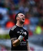 11 September 2021; Tyrone goalkeeper Niall Morgan celebrates his side's first goal during the GAA Football All-Ireland Senior Championship Final match between Mayo and Tyrone at Croke Park in Dublin. Photo by David Fitzgerald/Sportsfile