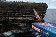12 September 2021; Steven LoBue of USA during round four of the Red Bull Cliff Diving World Series at Downpatrick Head in Mayo. Photo by Ramsey Cardy/Sportsfile
