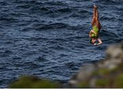 12 September 2021; Eleanor Smart of USA during round four of the Red Bull Cliff Diving World Series at Downpatrick Head in Mayo. Photo by Ramsey Cardy/Sportsfile