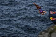 12 September 2021; Rhiannan Iffland of Australia during round four of the Red Bull Cliff Diving World Series at Downpatrick Head in Mayo. Photo by Ramsey Cardy/Sportsfile