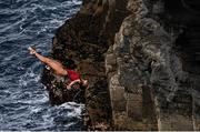 12 September 2021; Jessica Macaulay of Canada during round four of the Red Bull Cliff Diving World Series at Downpatrick Head in Mayo. Photo by Ramsey Cardy/Sportsfile