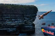 12 September 2021; Andy Jones of USA during round four of the Red Bull Cliff Diving World Series at Downpatrick Head in Mayo. Photo by Ramsey Cardy/Sportsfile