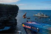 12 September 2021; Michael Navratil of Czech Republic during round four of the Red Bull Cliff Diving World Series at Downpatrick Head in Mayo. Photo by Ramsey Cardy/Sportsfile