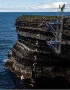 12 September 2021; (Editors Note: Composite image sequence complied in Photoshop) Aidan Heslop of Great Britain during round four of the Red Bull Cliff Diving World Series at Downpatrick Head in Mayo. Photo by Ramsey Cardy/Sportsfile