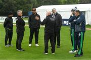 13 September 2021; Umpires Paul Reynolds, second left, and Alan Neill, centre, with, from right, Ireland head coach Graham Ford, Ireland captain Andrew Balbirnie, match referee and Zimbabwe captain Craig Ervine following an inspection before match three of the Dafanews International Cup ODI series between Ireland and Zimbabwe at Stormont in Belfast. Photo by Seb Daly/Sportsfile