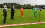 13 September 2021; Ireland captain Andrew Balbirnie, right, Zimbabwe captain Craig Ervine, match referee Kevin Gallagher and presenter Alan Lewis during the coin toss before match three of the Dafanews International Cup ODI series between Ireland and Zimbabwe at Stormont in Belfast. Photo by Seb Daly/Sportsfile