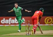 13 September 2021; Josh Little of Ireland celebrates after bowling Zimbabwe's Regis Chakabva during match three of the Dafanews International Cup ODI series between Ireland and Zimbabwe at Stormont in Belfast. Photo by Seb Daly/Sportsfile