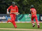 13 September 2021; Zimbabwe captain Craig Ervine, left, and team-mate Wessley Madhevere during match three of the Dafanews International Cup ODI series between Ireland and Zimbabwe at Stormont in Belfast. Photo by Seb Daly/Sportsfile