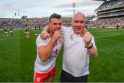 11 September 2021; Darren McCurry of Tyrone and kitman Mickey Moynagh celebrate following the GAA Football All-Ireland Senior Championship Final match between Mayo and Tyrone at Croke Park in Dublin. Photo by Stephen McCarthy/Sportsfile