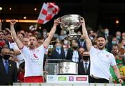 11 September 2021; Niall Sludden, left, and Peter Teague of Tyrone lift the Sam Maguire Cup following the GAA Football All-Ireland Senior Championship Final match between Mayo and Tyrone at Croke Park in Dublin. Photo by Stephen McCarthy/Sportsfile