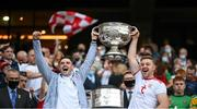 11 September 2021; Michael Cassidy and Michael O'Neill of Tyrone lift the Sam Maguire Cup following the GAA Football All-Ireland Senior Championship Final match between Mayo and Tyrone at Croke Park in Dublin. Photo by Stephen McCarthy/Sportsfile