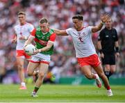 11 September 2021; Ryan O'Donoghue of Mayo in action against Michael McKernan of Tyrone during the GAA Football All-Ireland Senior Championship Final match between Mayo and Tyrone at Croke Park in Dublin. Photo by Ray McManus/Sportsfile