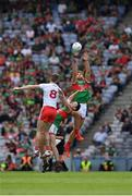 11 September 2021; Aidan O'Shea of Mayo catches the ball from the throw in during the GAA Football All-Ireland Senior Championship Final match between Mayo and Tyrone at Croke Park in Dublin. Photo by Ray McManus/Sportsfile