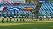13 September 2021; Ireland players during the National Anthem before the Rugby World Cup 2022 Europe Qualifying Tournament match between Spain and Ireland at Stadio Sergio Lanfranchi in Parma, Italy. Photo by Roberto Bregani/Sportsfile
