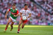 11 September 2021; Darren McCurry of Tyrone in action against Enda Hession of Mayo during the GAA Football All-Ireland Senior Championship Final match between Mayo and Tyrone at Croke Park in Dublin. Photo by Ray McManus/Sportsfile