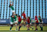 13 September 2021; Aoife McDermott of Ireland wins possession in a lineout during the Rugby World Cup 2022 Europe Qualifying Tournament match between Spain and Ireland at Stadio Sergio Lanfranchi in Parma, Italy. Photo by Roberto Bregani/Sportsfile