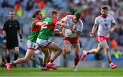 11 September 2021; Ronan McNamee of Tyrone in action against Bryan Walsh, 12, and Pádraig O'Hora of Mayo during the GAA Football All-Ireland Senior Championship Final match between Mayo and Tyrone at Croke Park in Dublin. Photo by Piaras Ó Mídheach/Sportsfile
