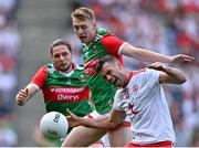 11 September 2021; Darren McCurry of Tyrone in action against Bryan Walsh and Pádraig O'Hora, left, of Mayo during the GAA Football All-Ireland Senior Championship Final match between Mayo and Tyrone at Croke Park in Dublin. Photo by Piaras Ó Mídheach/Sportsfile