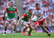 11 September 2021; Darren McCurry of Tyrone in action against Pádraig O'Hora of Mayo during the GAA Football All-Ireland Senior Championship Final match between Mayo and Tyrone at Croke Park in Dublin. Photo by Piaras Ó Mídheach/Sportsfile