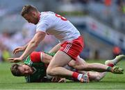 11 September 2021; Matthew Ruane of Mayo is tackled by Brian Kennedy of Tyrone during the GAA Football All-Ireland Senior Championship Final match between Mayo and Tyrone at Croke Park in Dublin. Photo by Piaras Ó Mídheach/Sportsfile